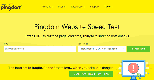 Как проверить скорость загрузки сайта tools.pingdom.com