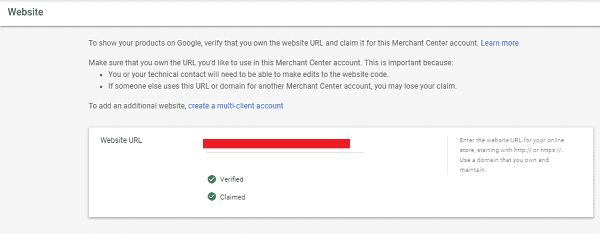 Заявление прав на сайт Google Merchant Center