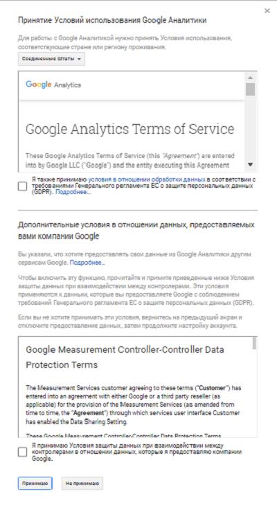 Условие использования Google Аналитики