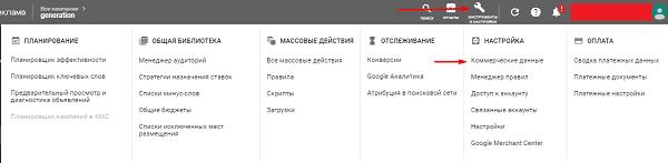 Коммерческие данные в Google Рекламе