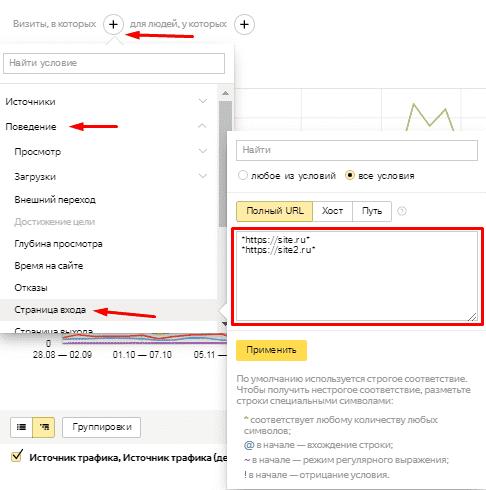 Фильтр по странице входа двух сайтов в Яндекс.Метрике