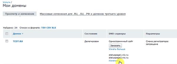 Редактирование DNS-серверов в Nic.ru
