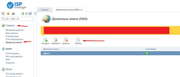 Переход в записи для домена в Reg.ru