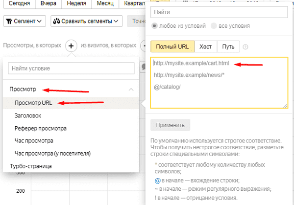Фильтр по просмотру URL в Яндекс.Метрике