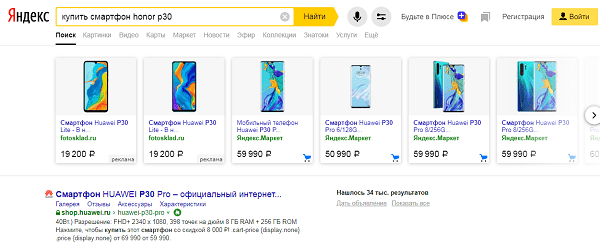 Товарная галерея в Яндекс.Директе