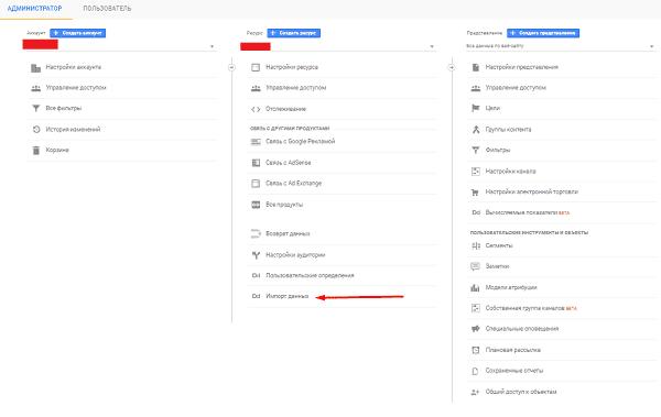 Импорт данных в настройках Google Analytics