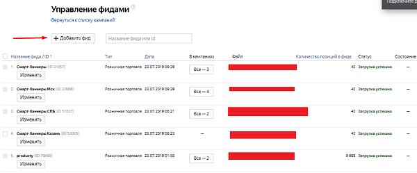 Загруженные фиды для смарт-баннеров и динамических объявлений в Яндекс.Директ