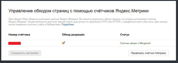Включенная интеграция в интерфейсе Яндекс.Вебмастера