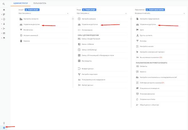 Доступ к ресурсу и представлению Google Аналитики