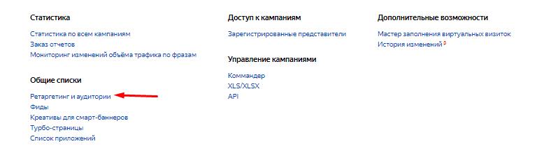 Ретаргетинг и аудитории в Яндекс.Директе