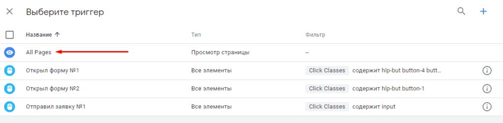 Выбор триггера All Pages в Google Менеджер тегов
