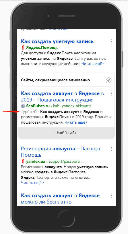 Турбо страница в поисковой выдаче Яндекса