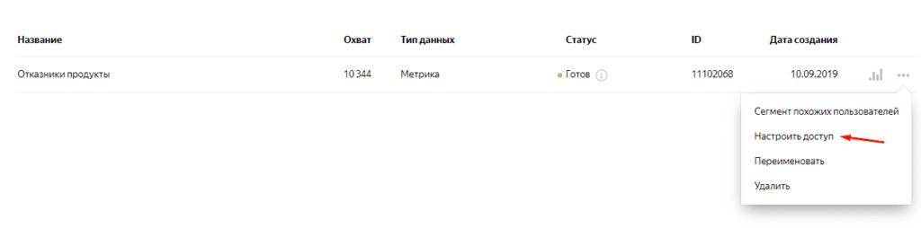 Настройки доступа к сегменту в Яндекс.Аудитории