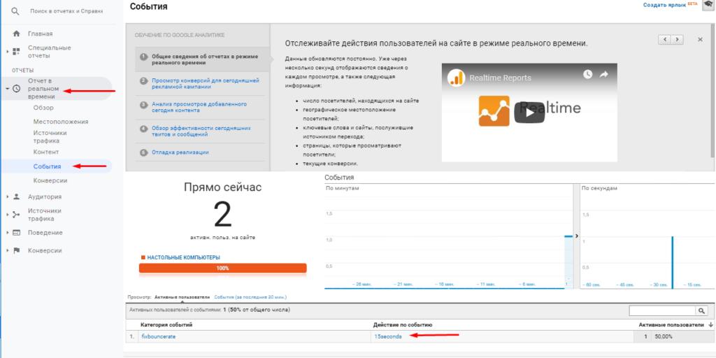 Событие для отмены отказа в Google Analytics в режиме реального времени