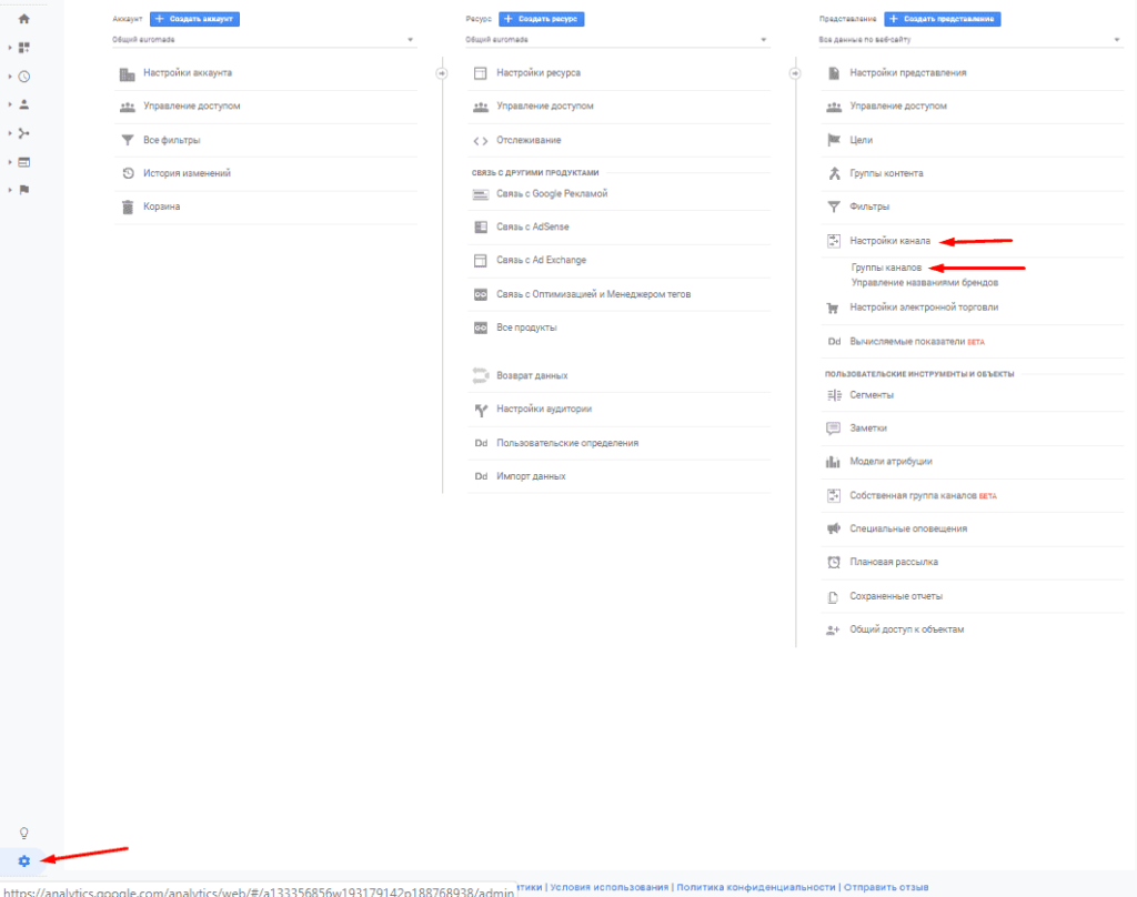 Переход в группы каналов из администратора в Google Analytics