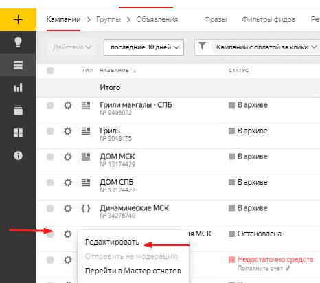 Редактирование параметров рекламной кампании в Яндекс.Директ