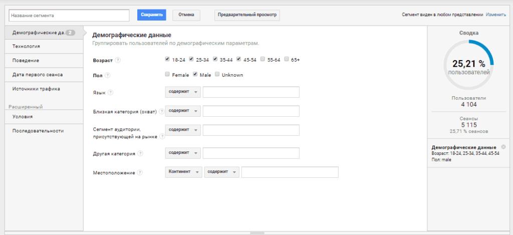 Созданный сегмент мужчины 18-54 лет в Google Analytics