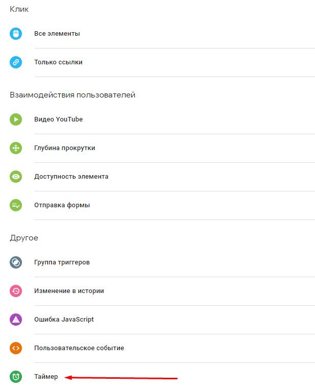 Выбор типа триггера Таймер в Google Tag Manager