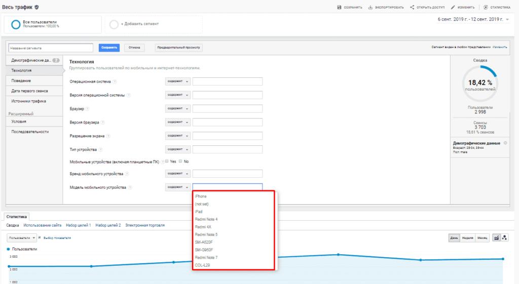 Подсказки для создания сегмента в Google Аналитике