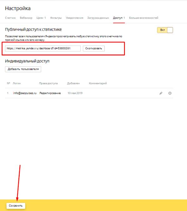 Публичный доступ к Яндекс.Метрике