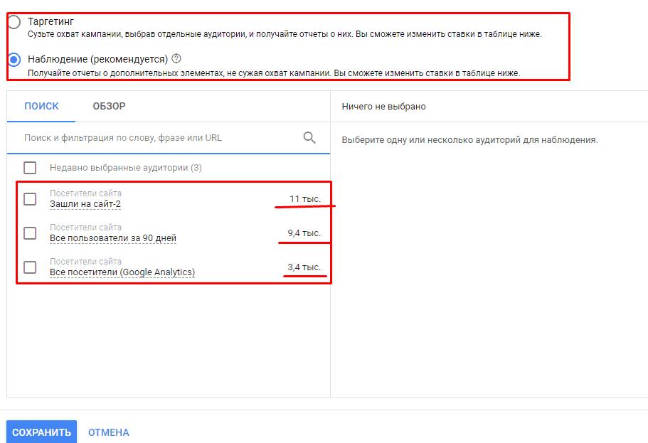 Выбор аудитории в Google Рекламе