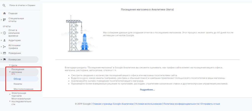 Отчет посещаемость магазинов в Google Analytics