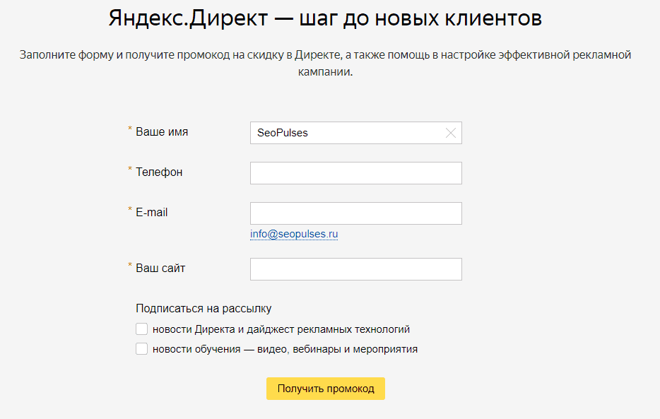 Форма заявки на получение промокода в Яндекс.Директ