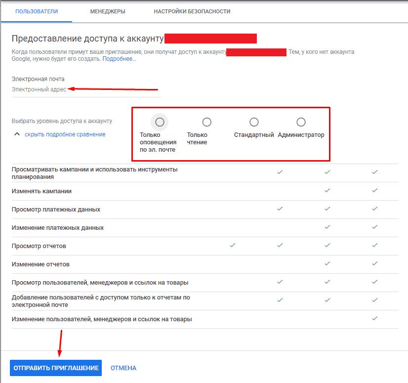 Отправление приглашения на доступ в Гугл Адвордс
