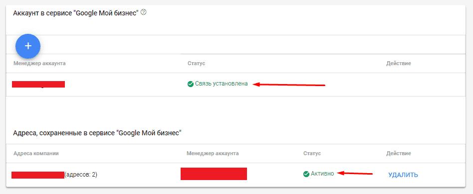 Установленная связь между Google Merchant Center и Google Мой бизнес