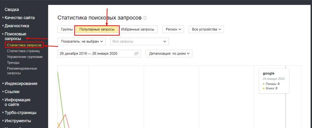 Переход в статистику запросов в Яндекс Вебмастер