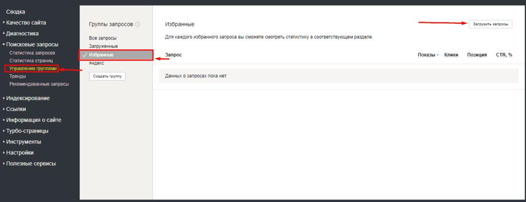 Избранные запросы в Яндекс.Вебмастере