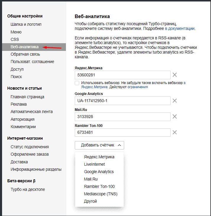 Веб-аналитика для Turbo страниц yandex
