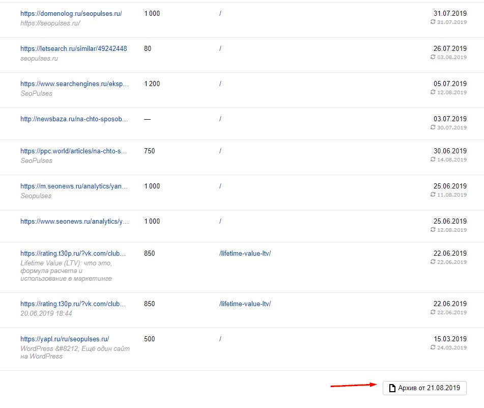 Выгрузка внешних ссылок в Яндекс.Вебмастер