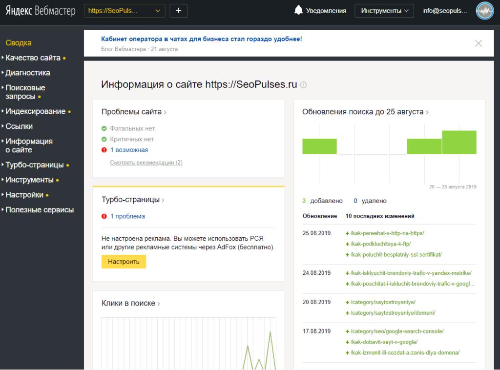 Сводка в Яндекс.Вебмастер