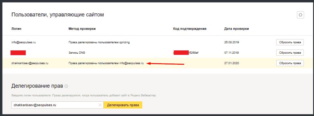 Переданные права новому пользователю в Яндекс.Вебмастер