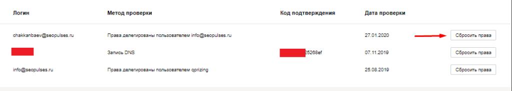 Сброс прав к точке на Карте через Яндекс.Вебмастер