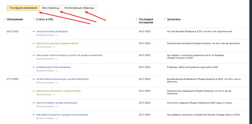 Вывод в таблице со страницами в поиске всех/исключенных или по последнему изменению в Yandex.Webmaster
