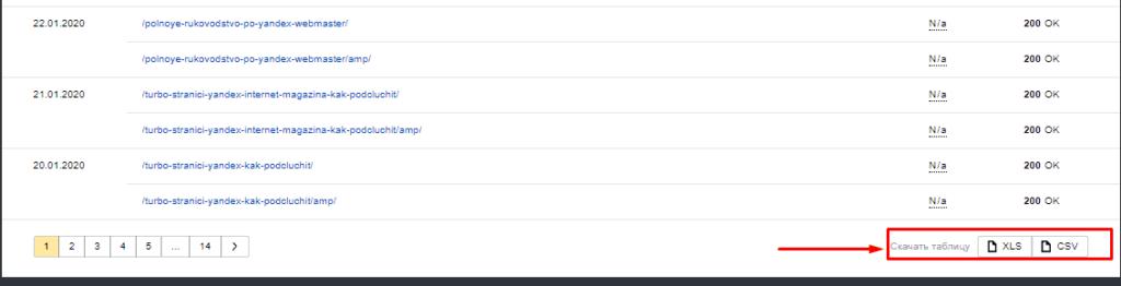 Скачивание статистики обхода и индексации в Яндекс.Вебмастер