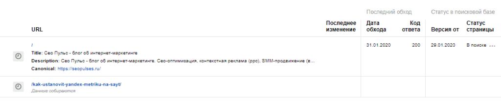Список мониторинга важных страниц в Яндекс Вебмастер