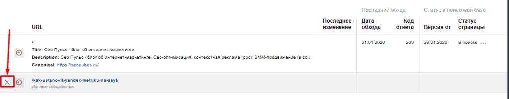 Удаление важной страницы в Яндекс.Вебмастер