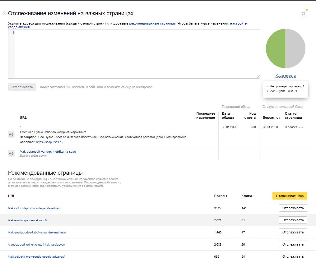 Мониторинг важных страниц в Яндекс.Вебмастер
