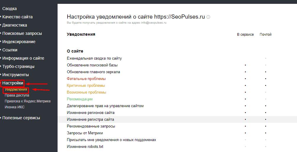 Переход в мониторинг важных страниц в Яндекс.Вебмастер