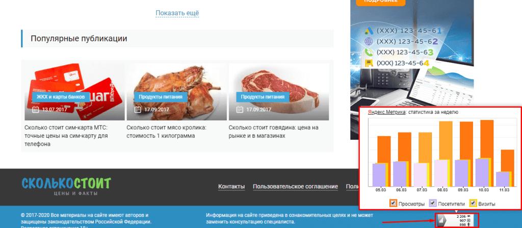 Просмотр посещаемости сайта с информера Яндекс.Метрики