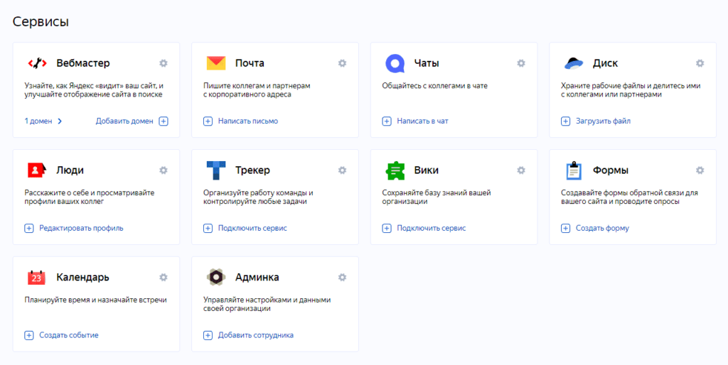 Административная панель Яндекс.Коннект