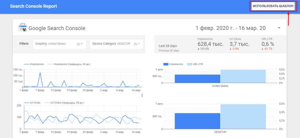 Использование базового шаблона Search Console в Google Студия данных