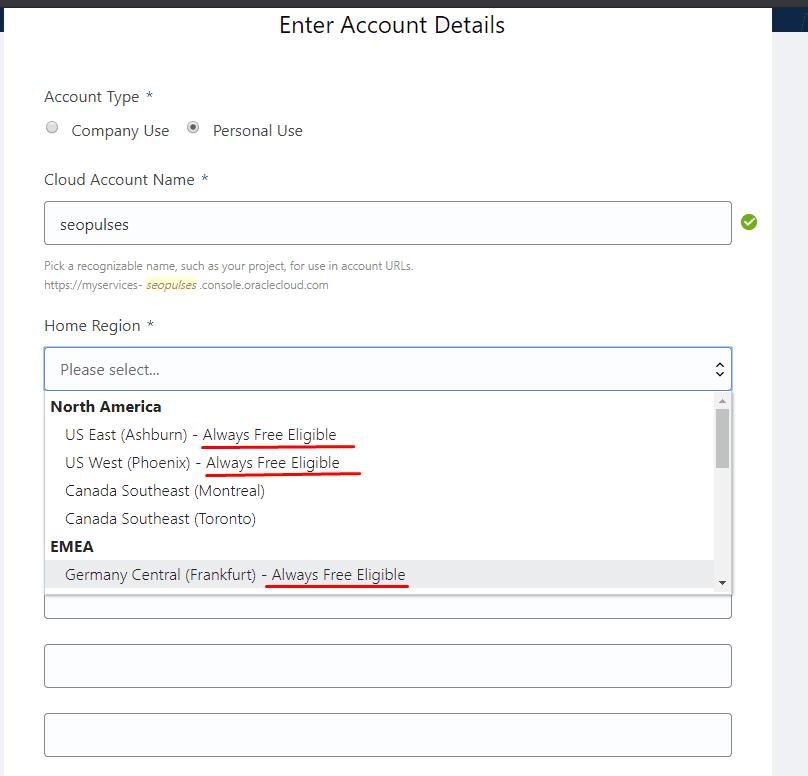 Регистрация и выбор бесплатного VPS в Oracle