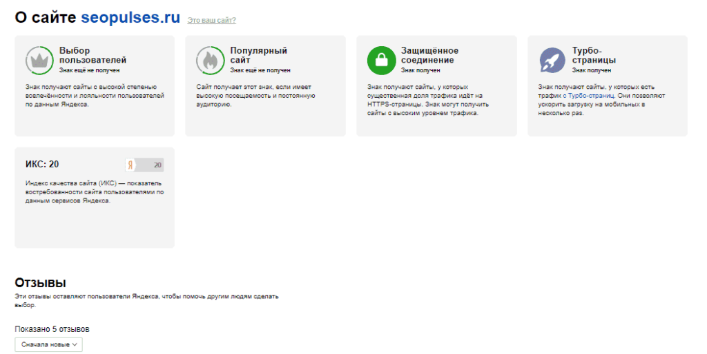 Качество сайта и ИКС в Яндекс