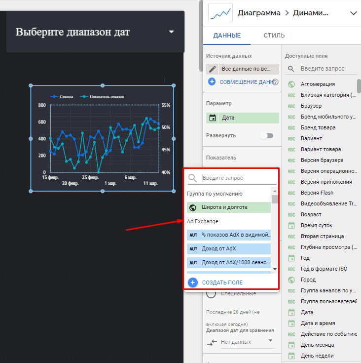 Выбор нужного показателя в Google Data Studio