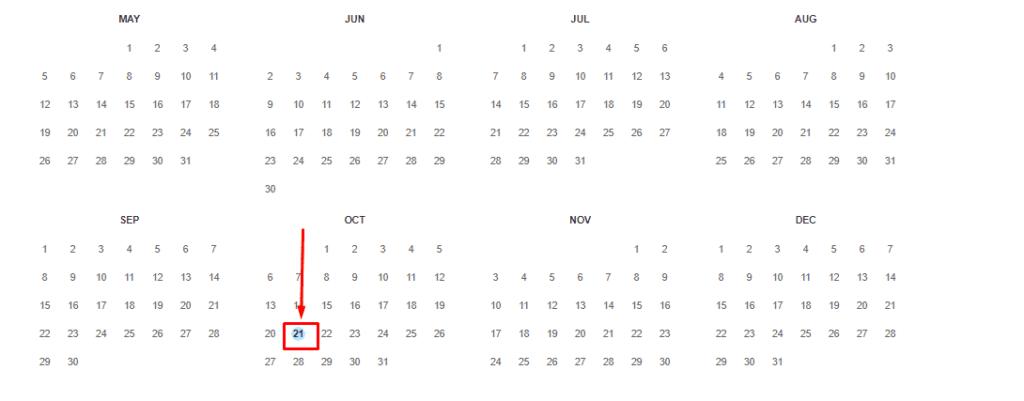Выбор даты для просмотра истории сайта из Веб Архива