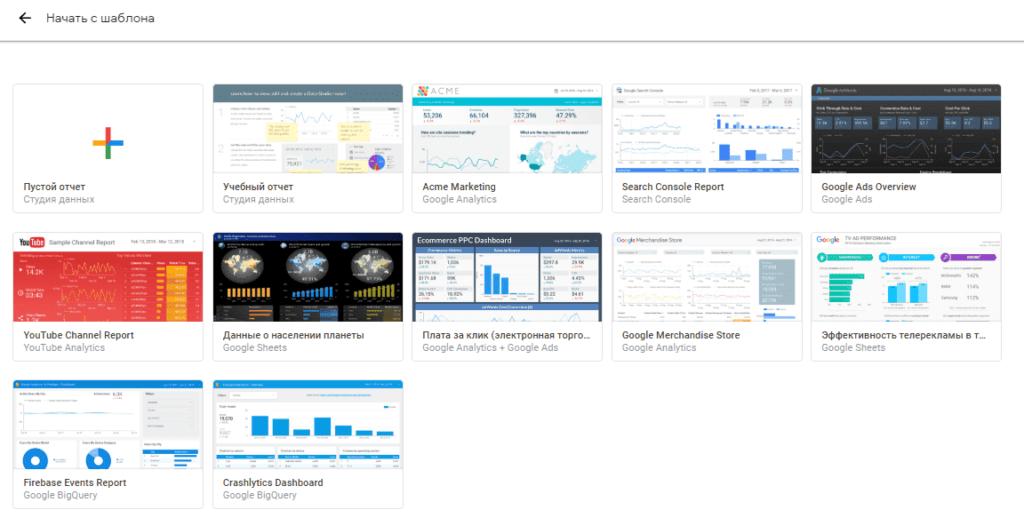 Базовые шаблоны в Google Data Studio